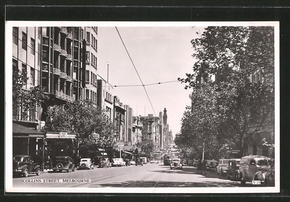 AK Melbourne, Collins Street, Strassenbahn und Geschäfte