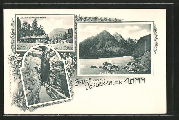 AK Vorderkaser Klamm, Alm-Hütte, Eingang in die Klamm, Schütt-Gebirge