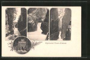 AK Sigmund-Thun-Klamm, an den Fels gebauter Weg durch die Klamm