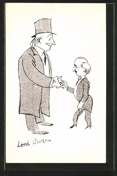 AK Karikatur, Lord Curzon gibt einem Politiker die Hand