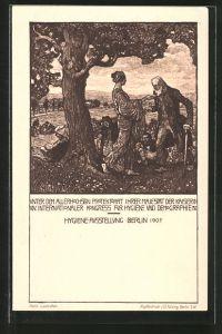 AK Berlin, Hygiene-Ausstellung 1907, Heilerin hilft den Menschen