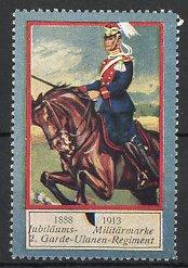 Reklamemarke Militär-Preussen, 2. Garde Ulanen Regiment, Kavallerist zu Pferd, 1888-1913