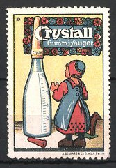 Künstler-Reklamemarke Michaelis, Crystall Gummi-Sauger, Mädchen & riesige Babyflasche