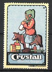 Künstler-Reklamemarke Michaelis, Crystall Gummi-Sauger, Mädchen mit Babyflasche auf Spielzeug-Kuh sitzend