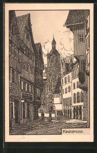 Künstler-AK Stuttgart, Blick in die Kirchstrasse