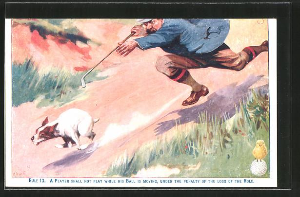 Künstler-AK Golfspieler rennt einem Hund hinterher