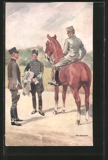 Künstler-AK Cavalerie, Onderofficieren, Unteroffiziere der niederländischen Kavallerie