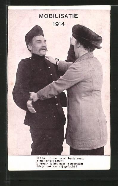 AK Mobilisatie 1914, niederländischer Soldat verabschiedet sich von Gattin