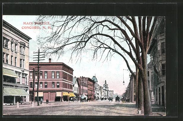 AK Concord, NH, Main Street mit Geschäften, Pferdekutsche