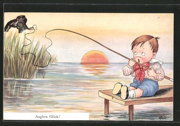 Künstler-AK Korle: Anglers Glück!, kleiner Junge hat einen Schuh geangelt