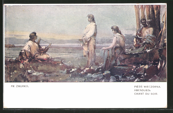 Künstler-AK Franciszek Zmurko: Abendlied, Chant du Soir, Sänger mit Harfe, Liebespaar
