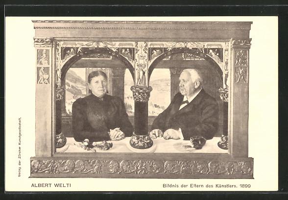 Künstler-AK Albert Welti: Bildnis der Eltern des Künstlers