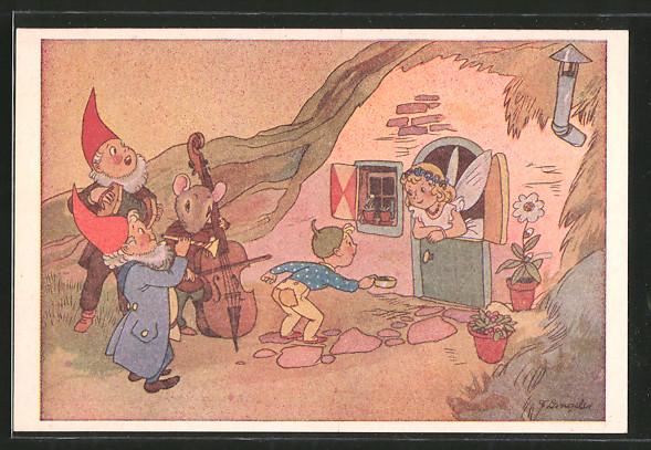Künstler-AK Freddie Langeler: Zwerge und Maus musizieren vor dem Haus einer Elfe
