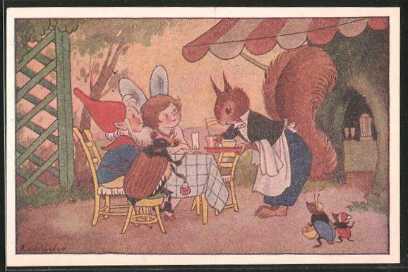 Künstler-AK Freddie Langeler: vermenschlichtes Eichhörnchen bedient als Kellner eine Elfe und einen Zwerg, Maikäfer