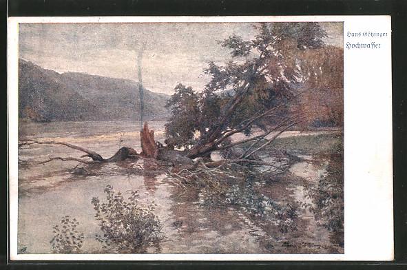 Künstler-AK Hans Götzinger: Hochwasser, Landschaftsbild