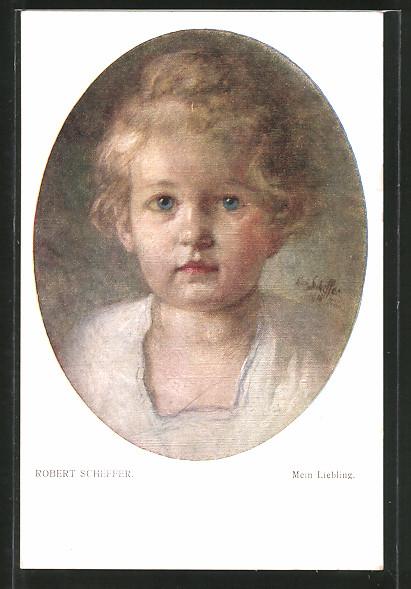 Künstler-AK Robert Scheffer: Mein Liebling, Blondschopf mit blauen Augen