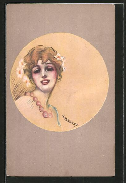 Künstler-AK A. Zandrino: Lächelnde Dame mit Blumen im Haar