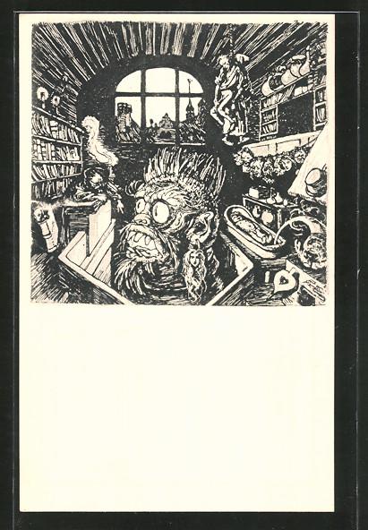 Künstler-AK Albert Welti: Der Teufel muss