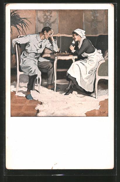 Künstler-AK Brynolf Wennerberg: Schach, Verwundeter und Krankenschwester