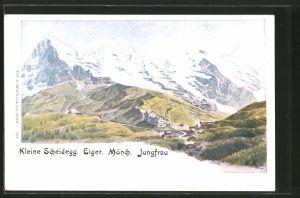 Künstler-AK Kleine Scheidegg, Ortsansicht mit Eiger, Mönch & Jungfrau
