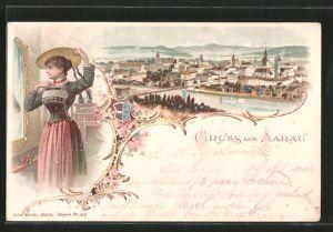 Lithographie Aarau, Panoramablick auf die Stadt, elegante Frau vor dem Spiegel