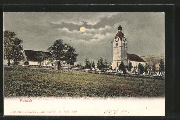 AK Reinach, Kirche und Friedhof bei Vollmond