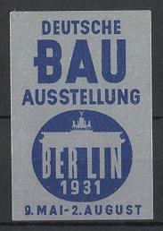 Reklamemarke Berlin, Deutsche Bau-Ausstellung 1931, Brandenburger Tor