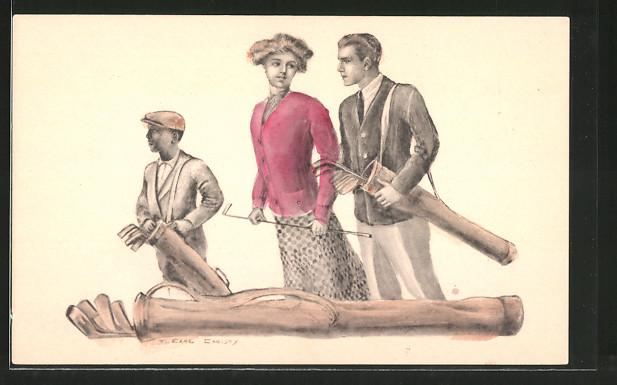 Künstler-AK F. Earl Christy: Liebespaar und Caddie beim Golfspiel