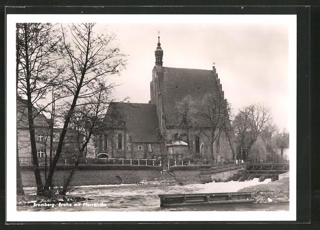 AK Bromberg / Bydgoszcz, Brahe mit Pfarrkirche