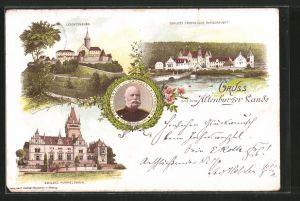 Lithographie Altenburg, Ernst Herzog von Sachsen-Altenburg, Schloss Fröhliche Wiederkunft, Schloss Hummelshain