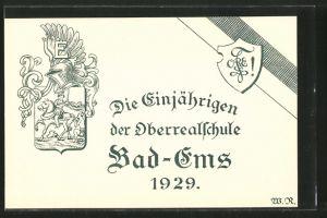 AK Bad-Ems, Die Einjährigen der Oberrealschule, 1929, Wappen, Absolvia