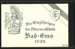 AK Bad-Ems, Wappen der Einjährigen der Oberrealschule von 1929, Absolvia