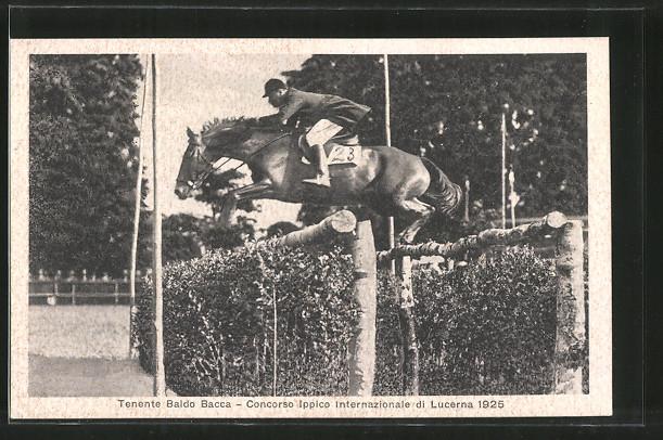 AK Lucerne, Concorso Ippico Internazionale 1925, Tenente Baldo Bacca, Reiter springt mit seinem Pferd über ein Hindernis