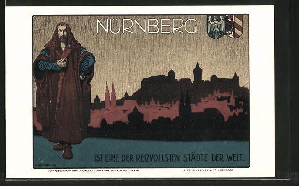 Künstler-AK Nürnberg, Reklame d. Fremdenverkehrsverein für Tourismus, Albrecht Dürer, Stadtpanorama, Wappen