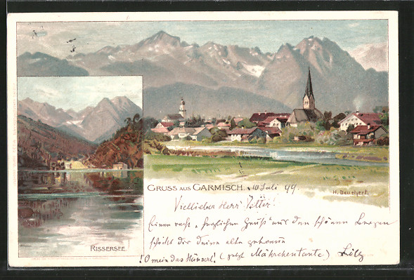 Künstler-Lithographie Heinrich Deuchert: Garmisch, Partie am Rissersee, Gesamtansicht