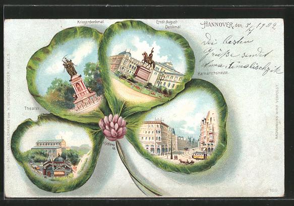 Passepartout-Lithographie Hannover, Kriegerdenkmal, Theater, Strassenbahn in der Karmarschstrasse, Kleeblatt