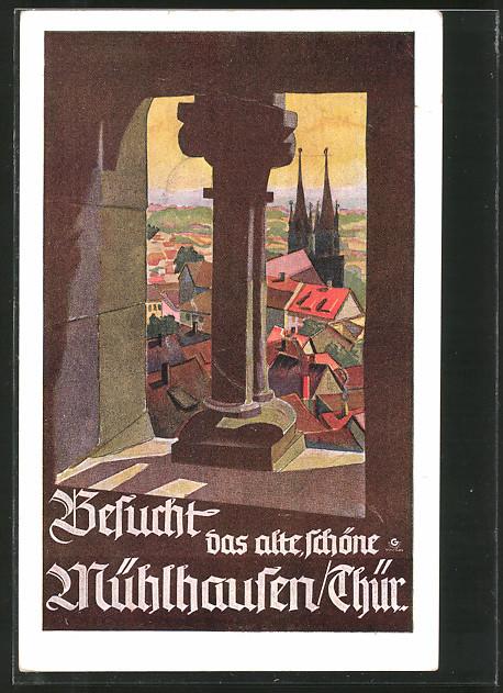Künstler-AK Mühlhausen, Reklame für Tourismus, Durchblick von der Marienkirche nach St. Jakobi