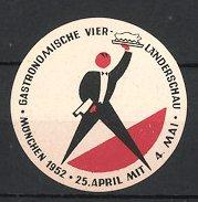 Reklamemarke München, Gastronomische Vier-Länderschau 1952, Kellner serviert Speise
