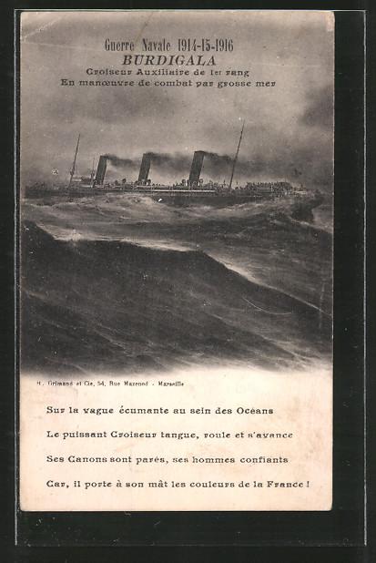 AK Guerra Navale 1914-15-16, Burdiglia, Croiseur Auxiliaire, Französ. Hilfskreuzer