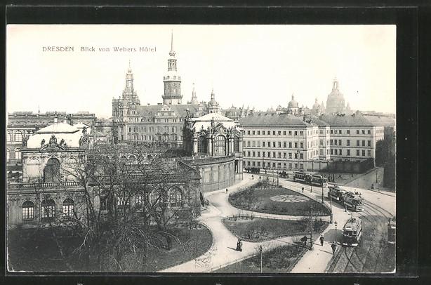 AK Dresden, Blick von Weber's Hotel, Strassenbahn