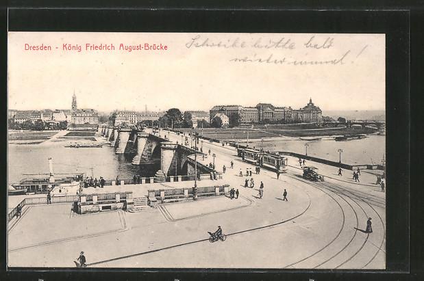 AK Dresden-Neustadt, Strassenbahn auf der König Friedrich August-Brücke