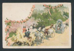 Künstler-AK sign. P. Leuteritz: Dresden, geschmückte Kutschen auf dem Corso-Fest, Rückseitig Info zum Fest