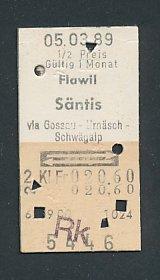 Fahrkarte Flawil - Säntis via Gossau, 2. Klasse