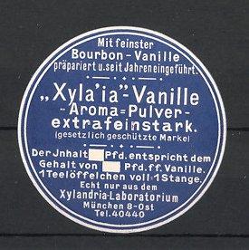 Reklamemarke München, Xyla'ia Vanille Aroma-Pulver, Xylandria-Laboratorium