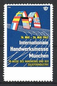 Reklamemarke München, Int. Handwerksmesse 1963, int. Fahnen