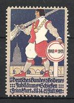 Reklamemarke Frankfurt / Main, 17. Deutsches-Goldenes Jubiläums-Schiessen 1912, Schütze m. Gewehr am Stadtrand