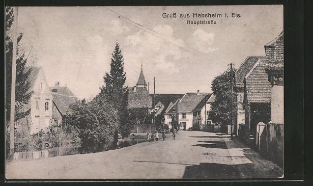AK Habsheim, Blick in die Hauptstrasse