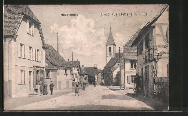 AK Habsheim, Hauptstrasse mit Blick zur Kirche
