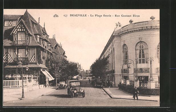 AK Deauville, la Plage fleurie, Rue Gontaut Biron