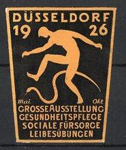 Reklamemarke Düsseldorf, Ausstellung Gesundheitspflege, Soziale Fürsorge & Leibesübungen 1926, Mann & Schlange